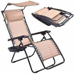 Folding Recliner Lounge Chairs Outdoor Camping Picnic Seat Shade Canopy Holder