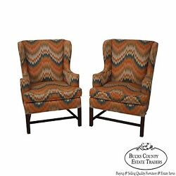 Hickory Chair Pair of Modern Flame Stitched Chippendale Style Wing Chairs