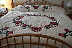 NEW! Amish Handmade Quilted & Appliqued Heart of Roses Lg Queen or King 108x116