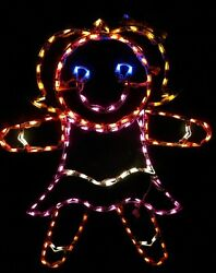 Christmas Gingerbread Girl Outdoor LED Lighted Decoration Steel Wireframe