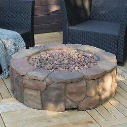 Stone Fire Pit Outdoor Propane Gas Large Backyard Deck Patio Firepit With Cover