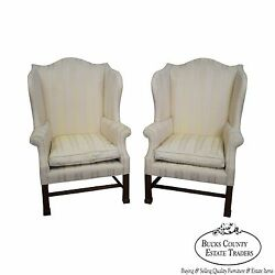 Statton Custom Pair Chippendale Style Wing Chairs