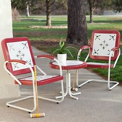 Summer Classics Patio Furniture Set Of 3 Piece Retro Metal Lawn Chairs Table Red