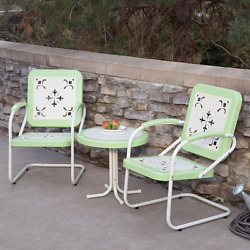 Summer Classics Patio Furniture Set Of 3 Retro Metal Lawn Chairs Table Green New