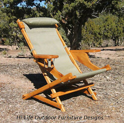 Folding Wood Sling Chair Outdoor Patio Camping Cup Holder  -