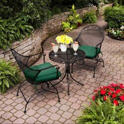 Bistro Table And Chairs Front Porch Furniture Patio Lawn Set Outdoor Green Seats