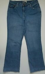 SIGNATURE LEVI STRASS Womens At Waist BootCut Blue Jeans Sz 14 Med $17.99