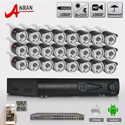 ANRAN 2MP 1920*1080 24CH Outdoor PoE IP Camera Security System NVR + PoE Switch