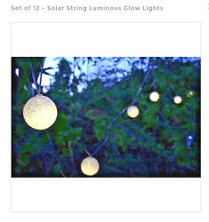 Solar String Luminous Outdoor Garden Glow Lights-Set of 12 for PatioDeckPool