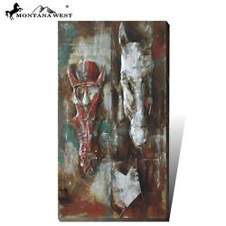 Montana West Trinity Ranch Metal 3D Wall Art Horse Painting Western Home Decor