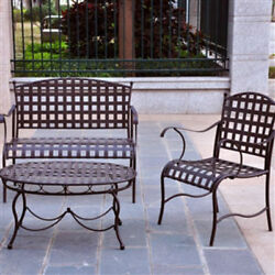 Group 3-Piece Wrought Iron Patio Furniture Seating Set  Brown Matte Finish