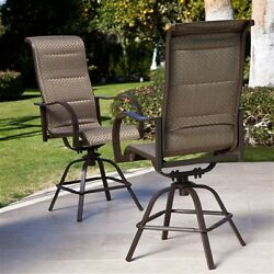 Set 2- Patio Dining Chair Bar Stools Swivel Sling Padded Seat Bronze Quick Dry
