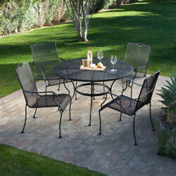 5-Piece Wrought Iron Patio Furniture Dining Set Seats 4 Round Table  47.8