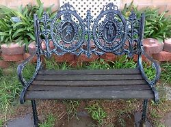 Vintage Midcentury Wrought  Cast Iron Park Bench With Back Design