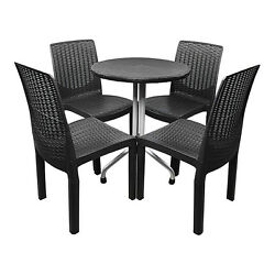 Outdoor Patio Furniture Garden Dining Bistro Resin Set Round Table and Chairs