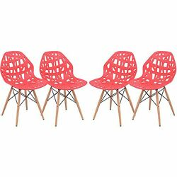 4 Piece Cut-Out Design Versatile Plastic Seat Wood Dowel Legs Side Chair Red