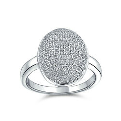 Bling Jewelry Pave Oval CZ Sparkle Engagement Ring Rhodium Plated Brass $39.99