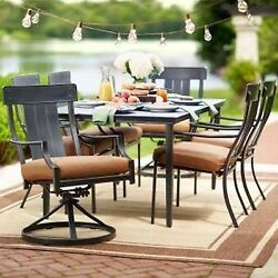 7-Piece Full-Metal Outdoor Patio Dining Table and Chairs Set w Cashew Cushion