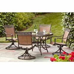Hampton Bay 5 Piece Aluminum Sling Outdoor Patio Dining Table and Rocking Chairs