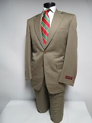 NWT Samuelsohn Woven in Italy Olive Brown 100% lana wool canvassed suit 40 R