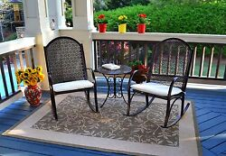Outdoor Patio Garden Rocking Chair Set with Cushions
