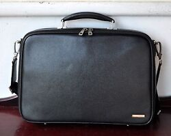 BALLY Black Pebbled Leather Briefcase Man Bag Laptop Italy Rare Sold Out! Unisex