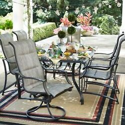7-Piece Outdoor Patio Dining Set Rectangle Glasstop Table and Padded Sling Chair
