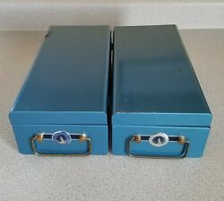 2 Vintage Central Life Assurance Co. Policy Locking Metal Security Boxes Durham