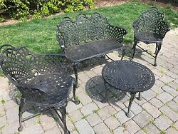 USED 4pc Patio Bistro Set Table Chair Set Outdoor Garden Furniture Antique Black