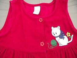 6X girls jumper red corduroy cats button front 24 38