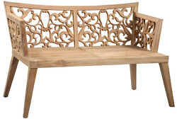 55'' Ornate Teak Wood Patio Garden Bench Porch Path Chair Outdoor Deck Outdoors