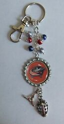 NHL INSPIRED HOCKEY TEAM FLAT BOTTLE CAP KEYCHAINS (CHOSE FROM 30 TEAMS)