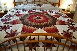 NEW Amish Handmade Quilted  Stars All Around 109x116 Very Lg Queen or King