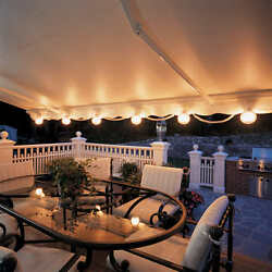 Patio Deck Awning Lights Weatherproof Smoky Globes Stretch Coil Cord 6 Light Set