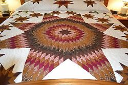 NEW Amish Handmade Quilted Stars All Around 105x114 Very Lg Qn or King