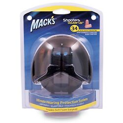 Mack's Shooters Double-Up Earmuffs with Earplugs - Black 34dB