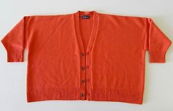 Eskandar Women Orange Cashmere V-Neck Cardigan Sweater-Excellent Condition!