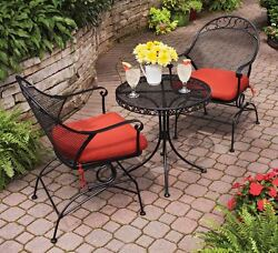 Patio Bistro Table And Chairs Front Porch Furniture Lawn Red Outdoor Metal Seats