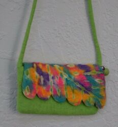 Beautiful colorful leaf flap cover lime green 100 % wool felt bag nature friend $14.99