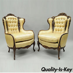 Pair of Vtg Carved Wing Back French Style Chairs Figural Living Room Louis XV
