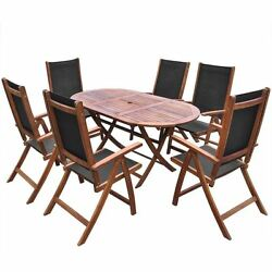 7 Piece Patio Dining Set Garden Outdoor Deck Pool Folding Furniture Table Chairs