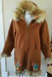 VINTAGE WOMENS WOOL ESKIMO INUIT FUR LINED PARKA INUVIK SEWING CENTRE
