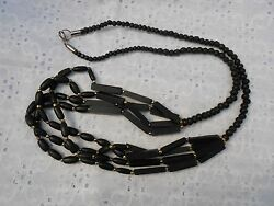 MAGNIFICENT BEADED MULTI STRAND NECKLACE BLACK WOOD BONE & GOLD BEADS