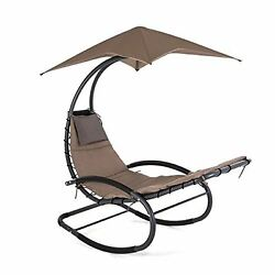 Patio Rocking Wave Lounger Chair Outdoor Portable Recliner Pool Chaise w Canopy