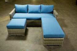 NEW! Corner Sofa Set Outdoor All Weather Wicker Patio Furniture Sunbrella Fabric