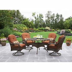 Patio Garden Dining Set 5 Pcs Table Swivel Chairs Durable Wicker Outdoor Seating