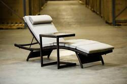 NEW! Modern Chaise Lounge Glass Table Outdoor Patio Furniture Sunbrella Padding