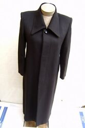 New Womens Ladies 65% Cashmere Wool Dress Trench Pea Long Coat Jacket M 8 Black