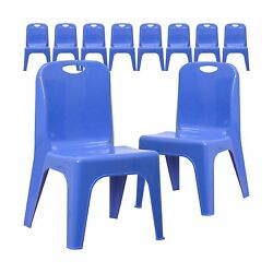 Flash Furniture 10 Pk. Blue Plastic Stackable School Chair with Carrying Hand...