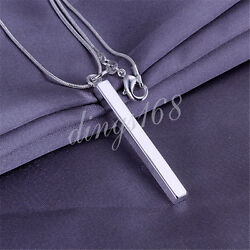 925 Sterling Silver Hypo-Allergenic Classic Bar Pendant + Necklace Chain Set H31